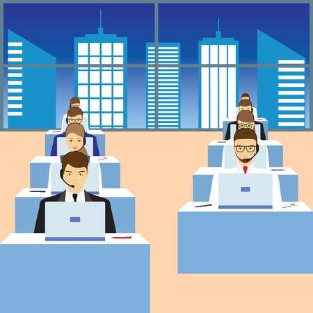 call center woman: Men and women working in a call center. Support service. Call center.