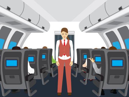 Passengers and stewardess on the plane. Interior of salon of the plane. Stock Illustratie