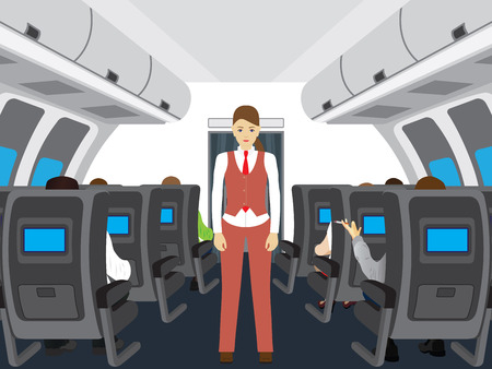Passengers and stewardess on the plane. Interior of salon of the plane. Vectores