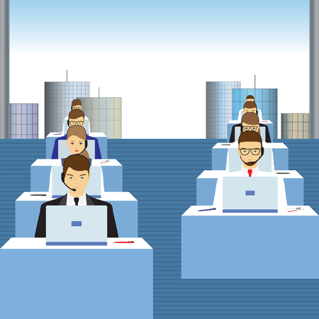 Men and women working in a call center. Office. Support service. Call center.