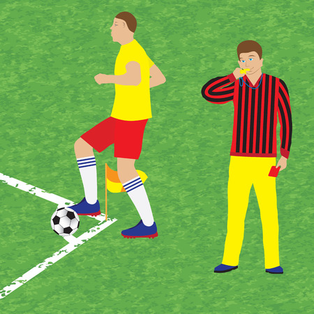 Football player and referee with whistle and red card. Soccer. Sport.