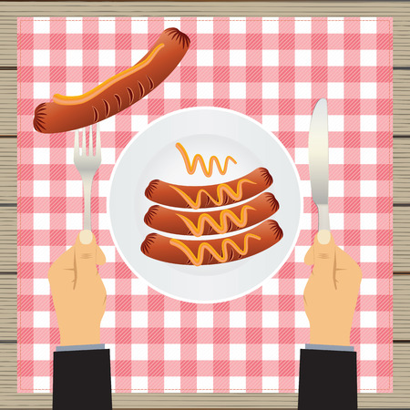 Sausages on a plate and hand with a knife and fork. Sausage, mustard, plate, fork, knife, table. Top view.
