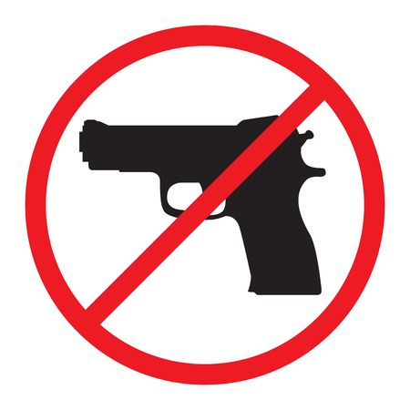 No Guns Allowed Sign. No Weapons Sign.