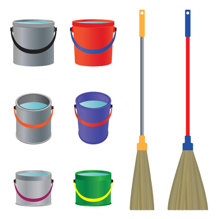 Mops and buckets. The tool for cleaning. Vettoriali