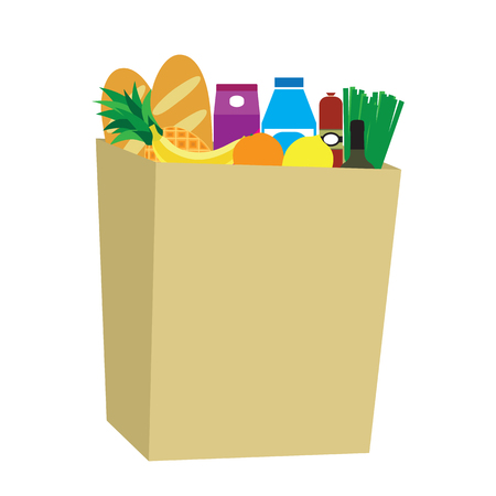 foodstuffs: Food in a paper bag. Daily products.