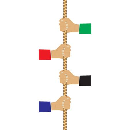 Hands holding a rope. Illustration, elements for design.