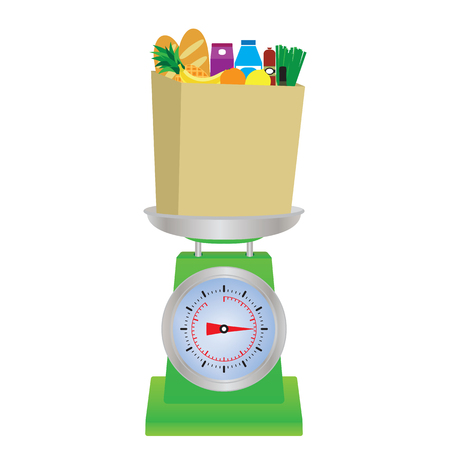Food on the scales. Shop scales. Vettoriali