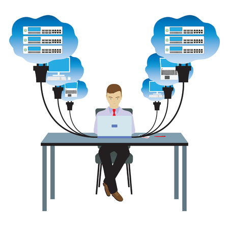 Network cloud technology. Man sitting at the table and working on the network.