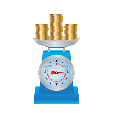 Coins on the scales. Illustration, elements for design. Vettoriali