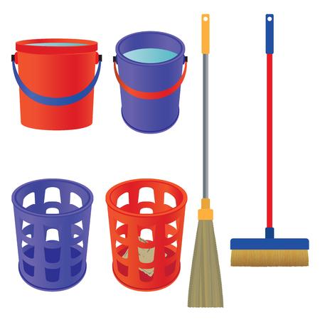 Tools for cleaning. Mop, bucket, broom, waste basket.