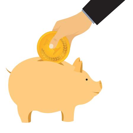 Hand omit a coin in a piggy bank. Thrift-box, money box.