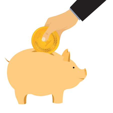 money box: Hand omit a coin in a piggy bank. Thrift-box, money box.