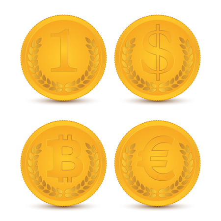 Various coins. Illustration, elements for design. Vettoriali