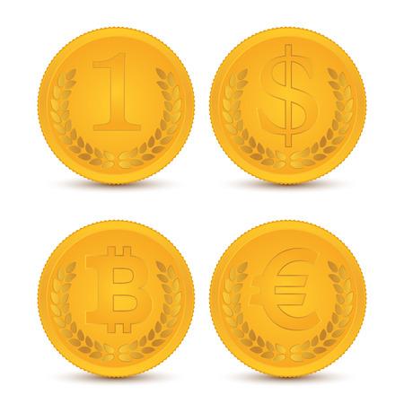 Various coins. Illustration, elements for design. 矢量图像