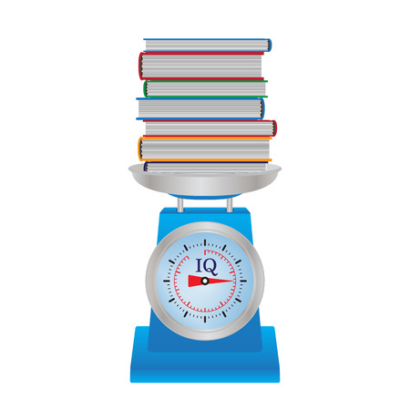 Books on the scales. Measuring iq concept illustration. Vettoriali