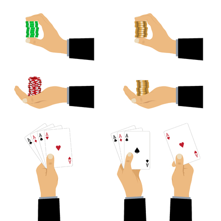 Hand with playing cards and chips. Playing cards and casino chips. 矢量图像