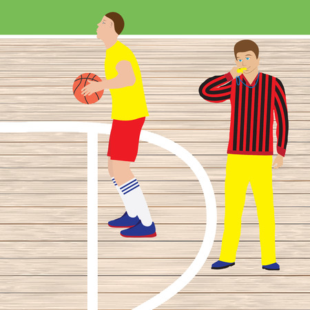 Basketball player and referee with whistle. Basketball. Sport.