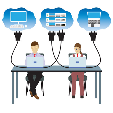 Network cloud technology. People sitting at the table and working on the network. 矢量图像