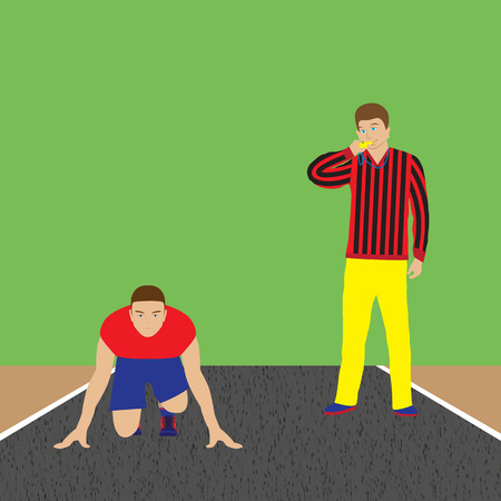 sportsman: Athlete and coach. Sportsman. Track-and-field athletics. Sport. Illustration