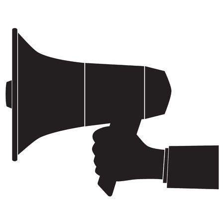 Black silhouette of a megaphone and hand. Illustration, elements for design. Vettoriali