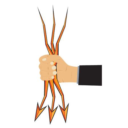 Hand and arrow-lightning. Illustration, elements for design.