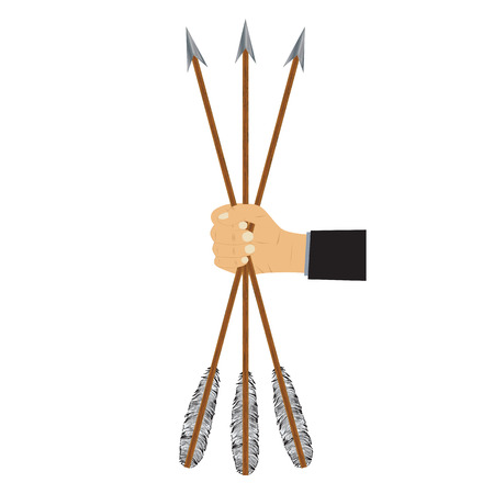 Hand holding arrows. Illustration, elements for design.