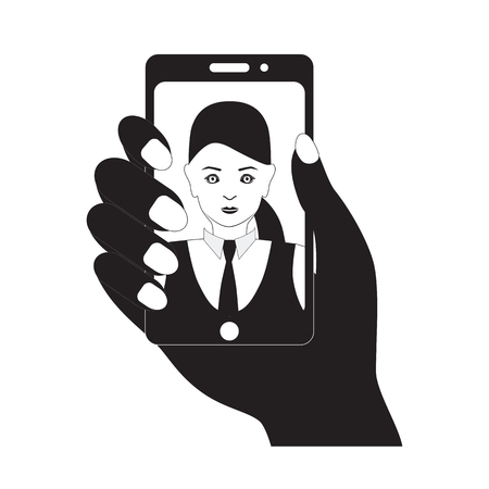 mobile device: Selfie photo on mobile device. Black silhouette.