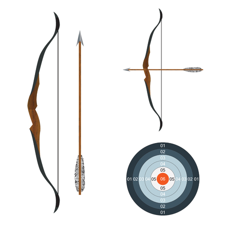 longbow: Bow, arrow and target. Illustration, elements for design. Illustration