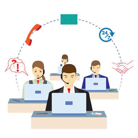 People working in a call center. Support service. Call center.