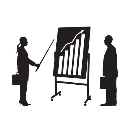 Black silhouettes of two businessmen. Meeting two businessmen. Presentation of the work.