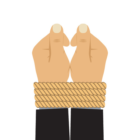 The hands tied by a rope. Illustration, elements for design.