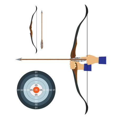 Bow, arrow and target. Illustration, elements for design. Vettoriali