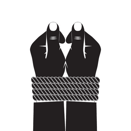 Black silhouette of the hands tied by a rope.