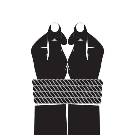 Schwarze Silhouette der Hände mit einem Seil gefesselt.