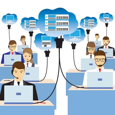 Tecnologia cloud di rete. Persone sedute al tavolo e lavorando sulla rete. Servizio di assistenza. Call center. Archivio Fotografico - 57236147
