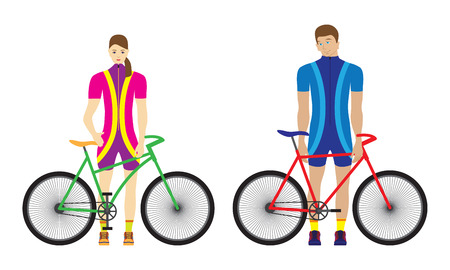 Woman and man stand with bicycles. Sport family. Vettoriali