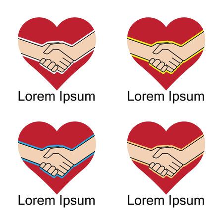 Heart and handshake. Illustration, elements for design. Vettoriali