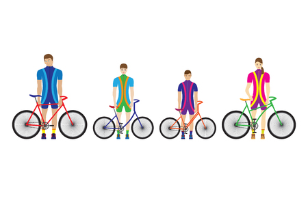 Father, mother and children stand with bicycles. Sport family. Vettoriali