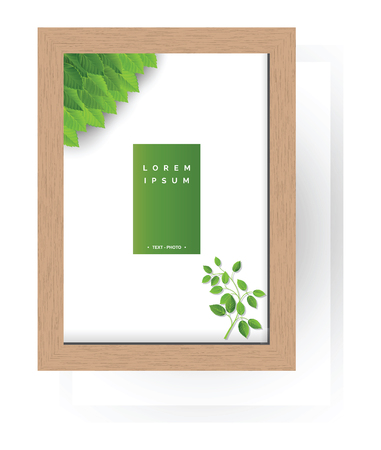Empty wooden frame for image, photo or text. Illustration