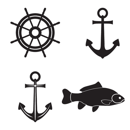 Black silhouettes of an anchor, fish and steering wheel. Sea symbols.
