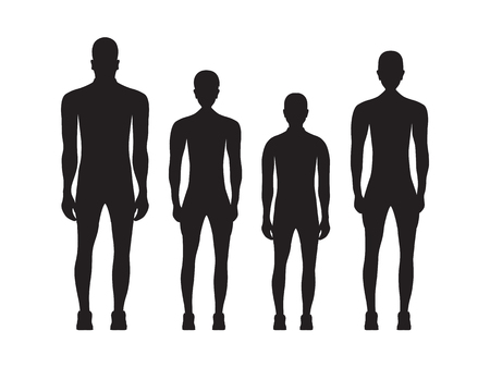 Black silhouettes of people in sportswear. Sport family. Archivio Fotografico - 124643199
