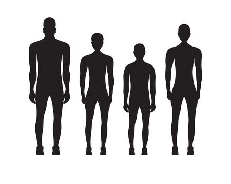 Black silhouettes of people in sportswear. Sport family.
