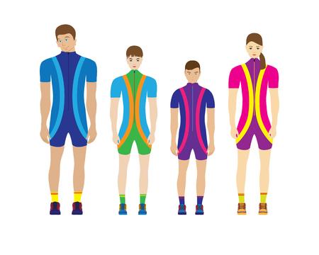 People in sportswear. Sport family. 矢量图像