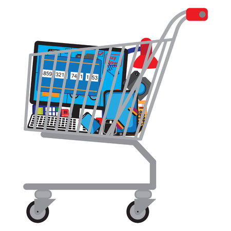 Shopping cart (shopping trolley) with different technical goods.