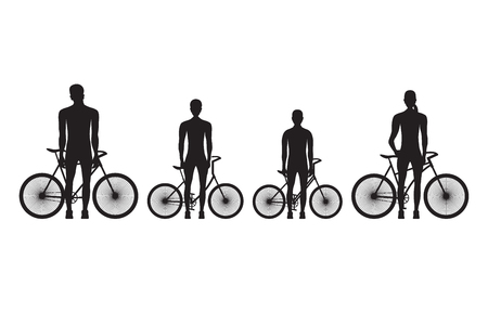 Silhouette of family on bicycles. Sport family.