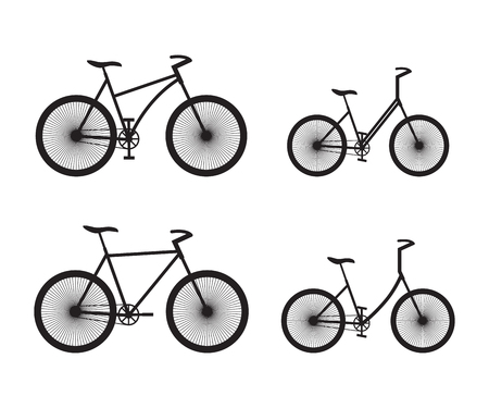 Black silhouettes of bicycles. Sport equipment.