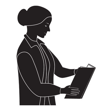 Black silhouette of the woman reading the book. Teacher.