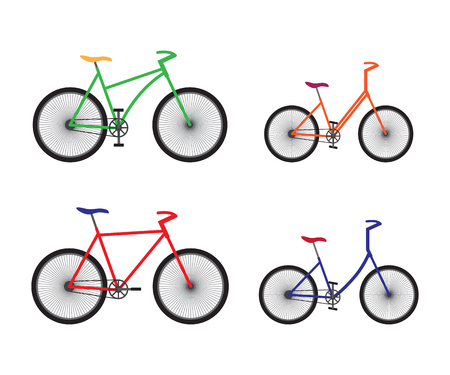 Different types of bicycles. Sport equipment.