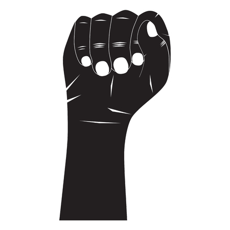 Black hand silhouette. Fist.