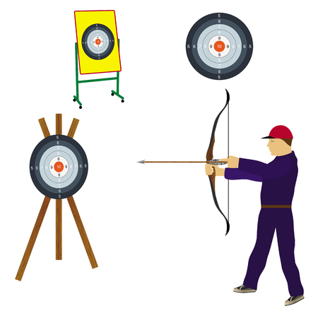 Shooter with bow and target. Sports archery.